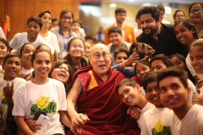 His Holiness The Dalai Lama with the children of Smile Foundation